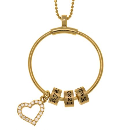 Circle Necklace With Name Beads and Inlay Heart