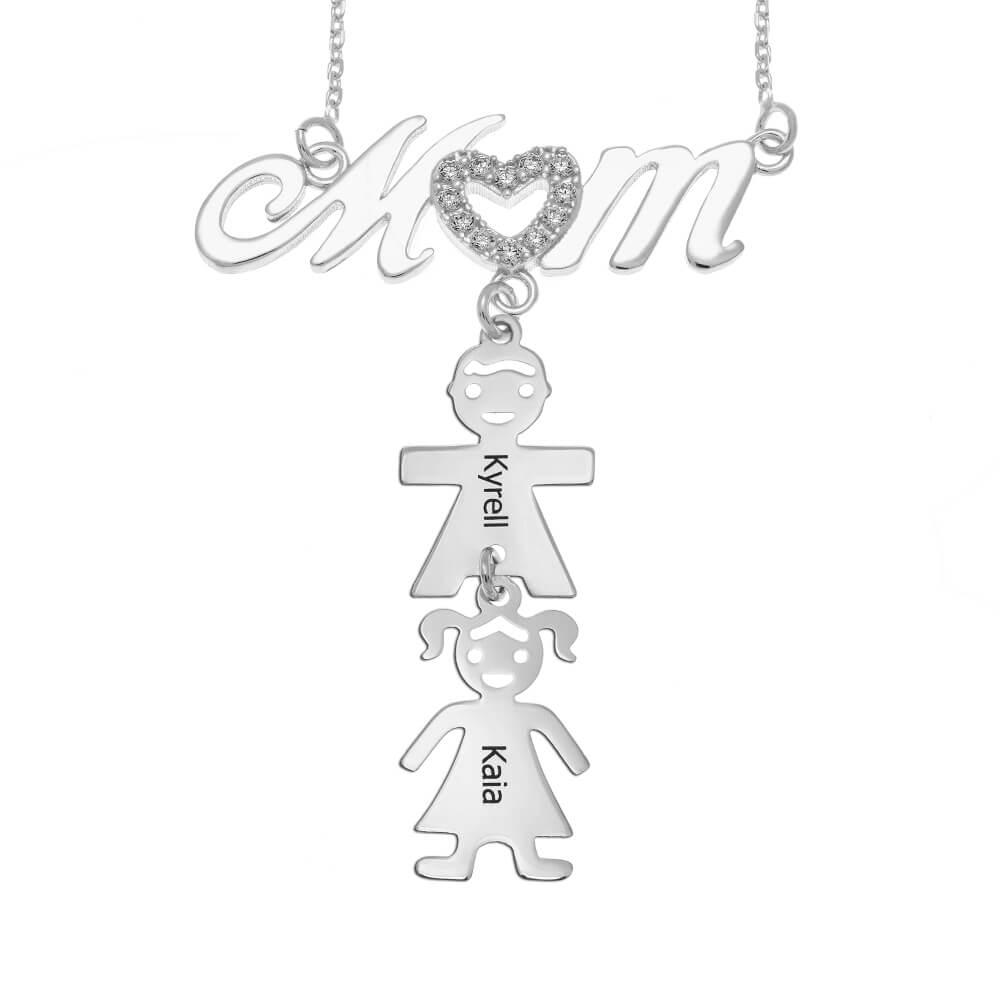 Swarovski Inlay Mom Necklace With Kids silver