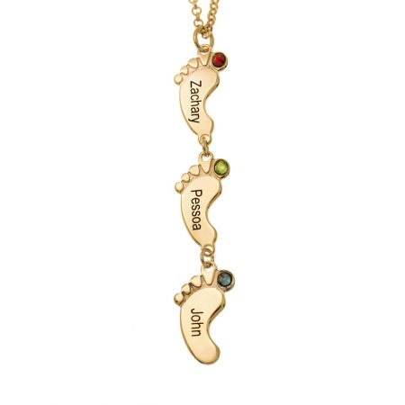Vertical Baby Feet Necklace with Birthstones