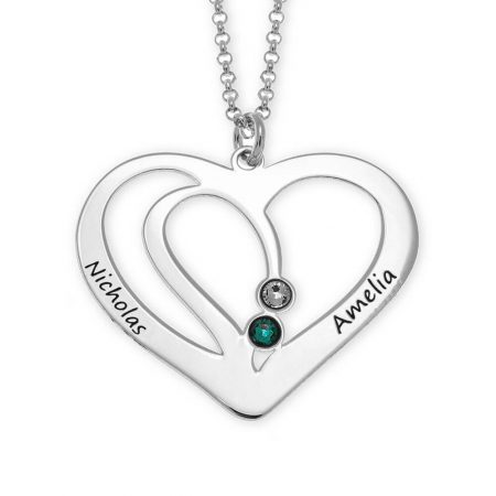 Engraved Couple Heart Necklace with Birthstones
