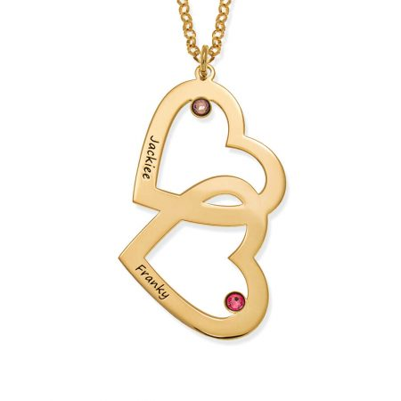 Heart in Heart with Birthstones Necklace