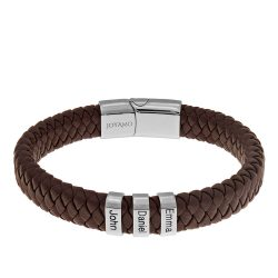 Brown Men's Leather Bracelet with Oval Name Beads